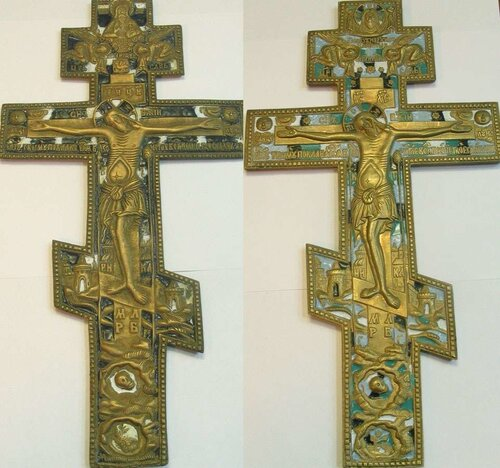 Два креста напрестольных. Медный сплав, литье, полихромные эмали. Россия, вторая половина XIXв. 36,5Х19; 35,5Х18.