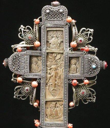 КРЕСТ НАПРЕСТОЛЬНЫЙ ГРЕЦИЯ XVIII ВЕК 22.5 x 9.5 cм