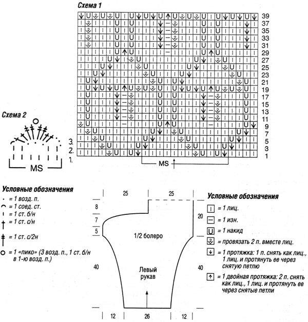 Вязание болеро спицами схема вязания