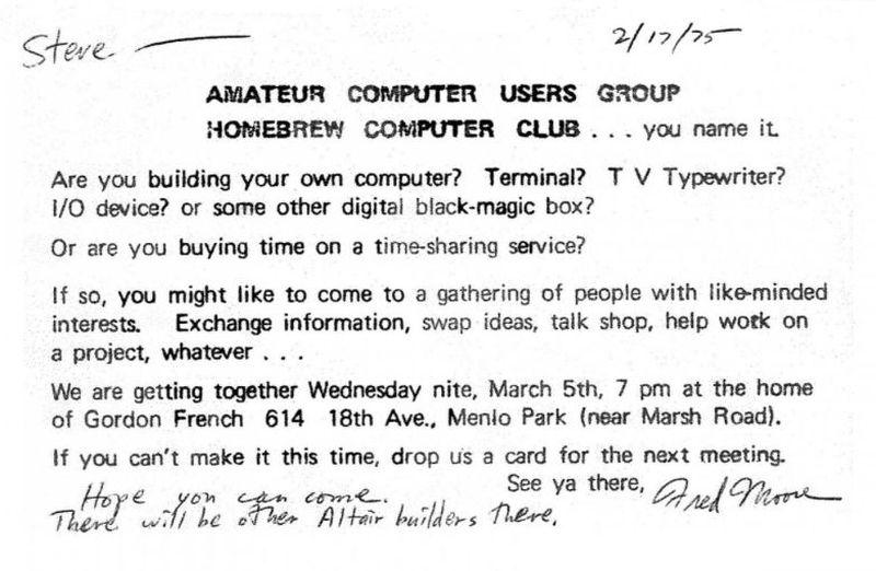 В 1975 году два энтузиаста Стив Возняк и Стив Джобс встретились в любительском компьютерном клубе Ho