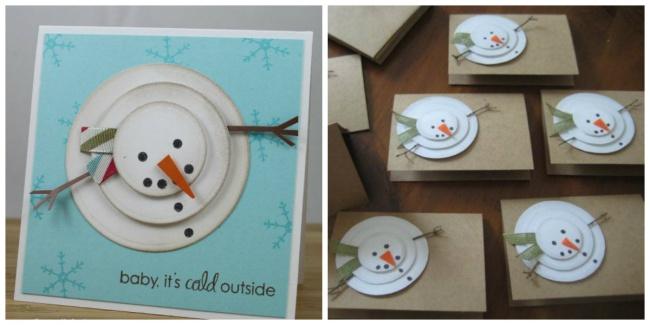 Объем этому забавному снеговику можно придать, если проложить между кругами дополнительные небольшие