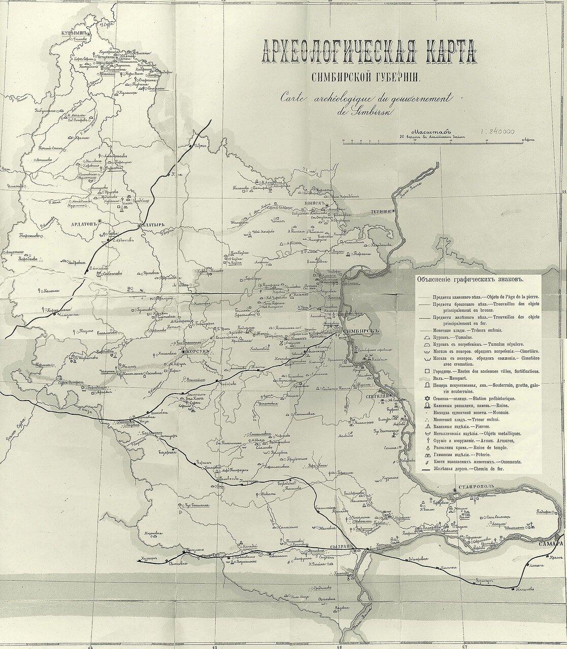 Археологическая карта Симбирской губернии, составленная В. Н. Поливановым в 1900 году
