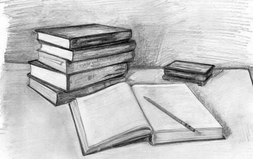 картинки карандашом книги