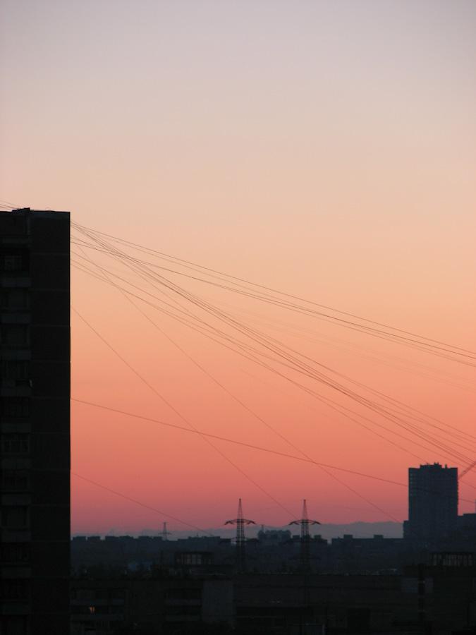 2009, industrial, восход, город, здания, индастриал, москва, небо, провода, россия