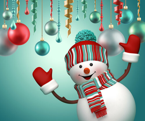3d happy snowman celebrating new year holiday