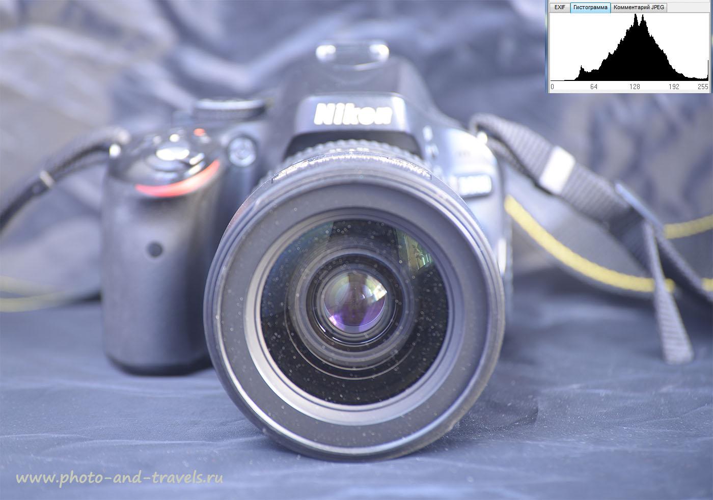 Фото 11. Когда мы фотографируем черную зеркалку Nikon D5100 с репортажным объективом Nikon 17-55/2.8 на черном же фоне, и не вводим экспокоррекцию, снимок тоже получается серым. 6 секунд, 0EV, f/4.8, 100, 145 мм.