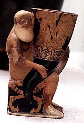 Античная скульптураАттическая терракоторая статуэтка, начало V в. до н.э.Лондон, Британский музей, Дионис, держащий рог для питья