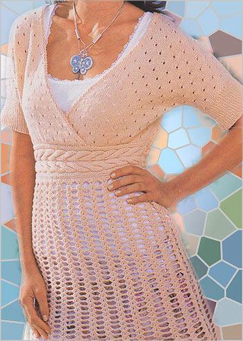 Платье туника спицами и крючком