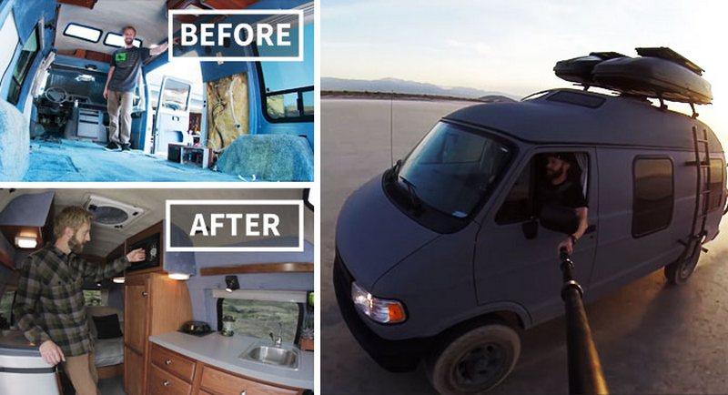 Парень переделал бабушкин фургон в дом на колесах и 2 года путешествует по миру