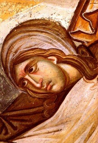 """Фрагмент фрески """"Воскрешение Праведного Лазаря"""". Монастырь Ватопед на Святой Горе Афон. 1312 год."""