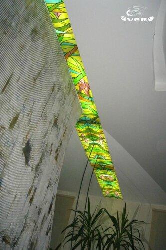 009. холл, интерьер, витражи с подсветкой, декоративная штукатурка, зеркала