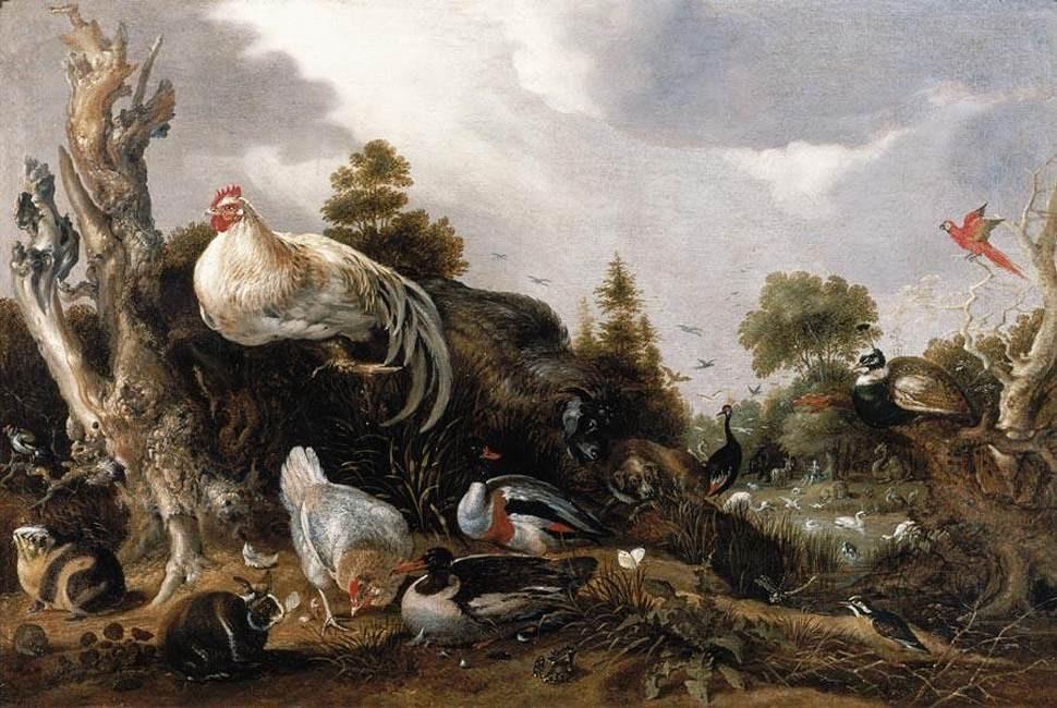 Гиллис де Хондекутер  Орфей очаровывает диких зверей, 1631