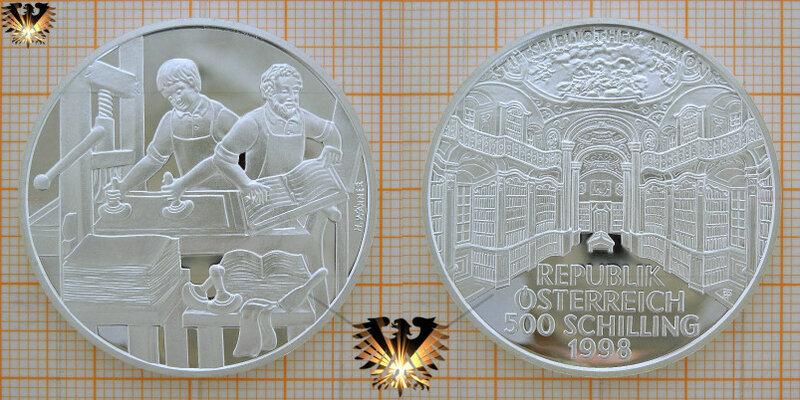 500 Schilling, Republik Österreich 1998, Stiftsbibliothek Admont, Buchdrucker, Silbermünze