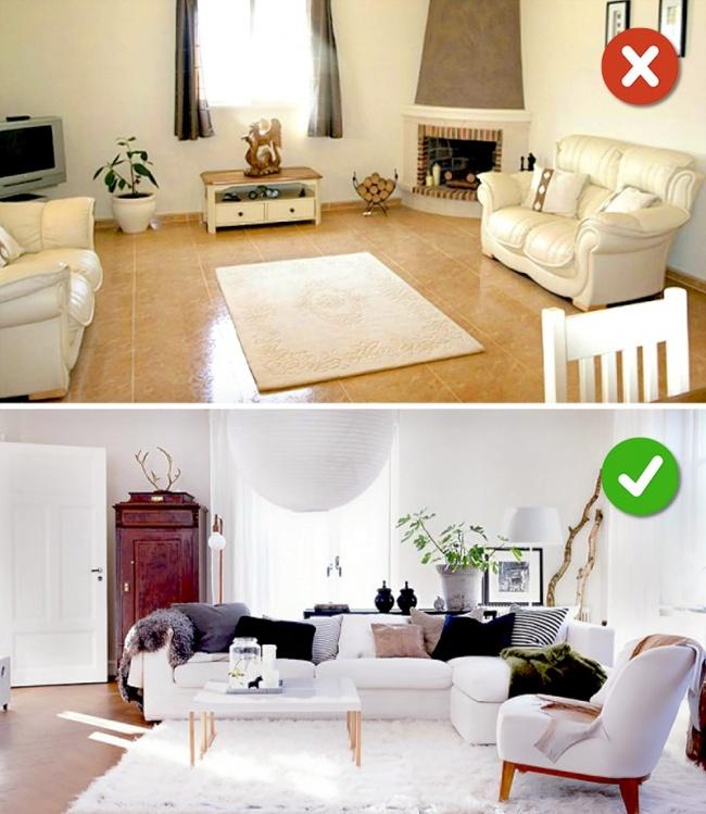 © hgtv  © popsugar  Маленькие ковры приносят дисбаланс вкомнату, следует подбирать кове