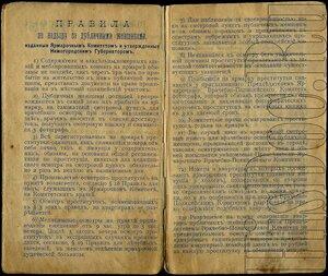 Заменительный билет и смотровая книжка проститутки на проживание на Нижегородской ярмарке и в Нижнем Новгороде. 2