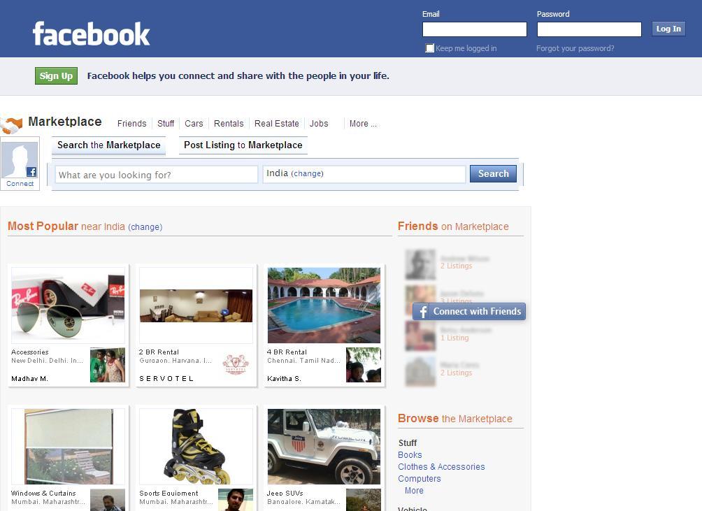 Фейсбук запустит сервис Marketplace для торговли внутри Сети