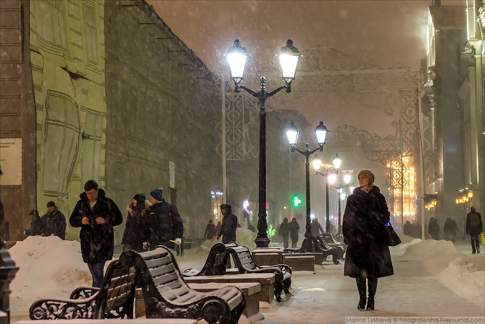 Moscow walk in a blizzard