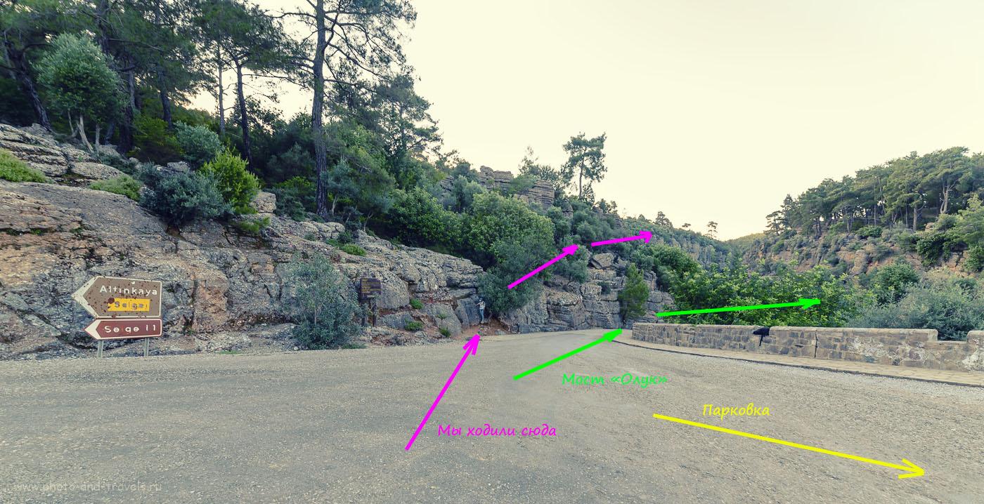 Фото 4. Схема расположения моста Олук и начала пешеходной тропы по каньону Кёпрюлю. Отзывы туристов об отдыхе в Анталии. Как мы путешествовали по Турции на автомобиле.