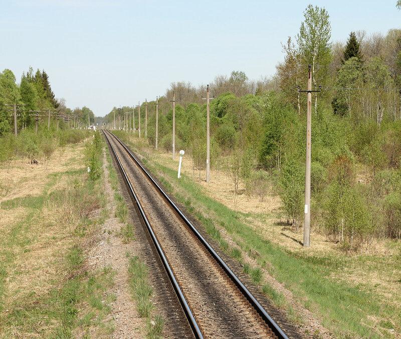 Станция Рождествено со светофора Н. Вид на Ржев и перегон