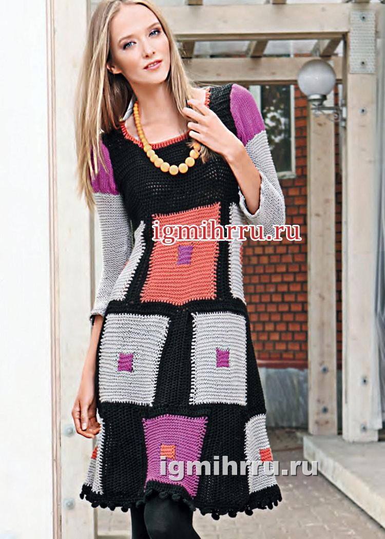 Платье из разноцветных квадратных мотивов. Вязание крючком