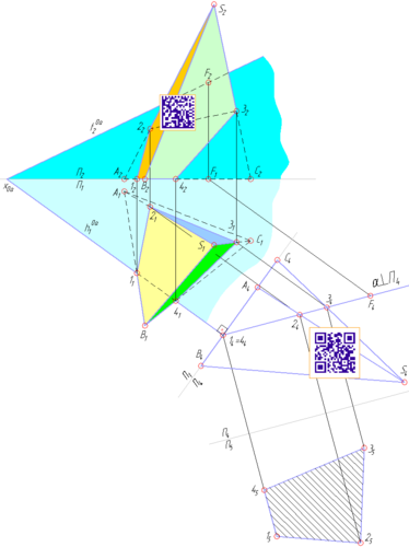 Натуральная величина сечения пирамиды