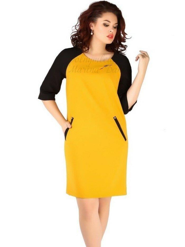 Желтое платье с черными рукавами Сайт ЖЕНЩИНА -ОДЕЖДА ПОЛНЫМ Marina Danilewskaya