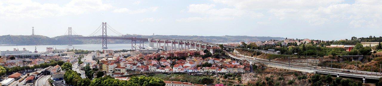 Lisbon. Bridge on April 25. The view from the Cemetery of Prazeres. panorama