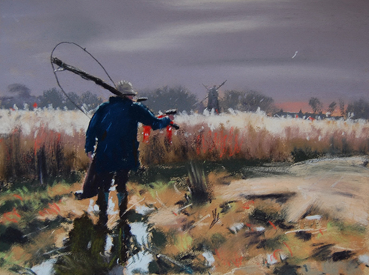 Киерон пишет пейзажи, иногда стараясь добавить в картины немного движения — идущего человека или ста