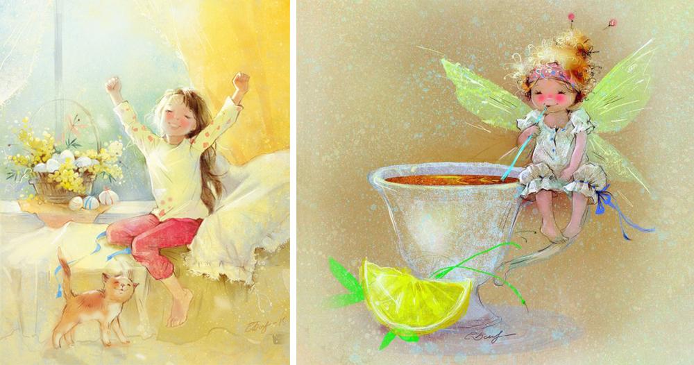 Екатерина Бабок— художник, воспевающий детство исолнце. Еесветлые рисунки украшают открытки исув