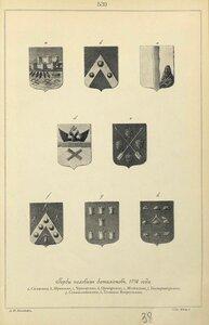 539. Гербы полевых батальонов, 1776 года.