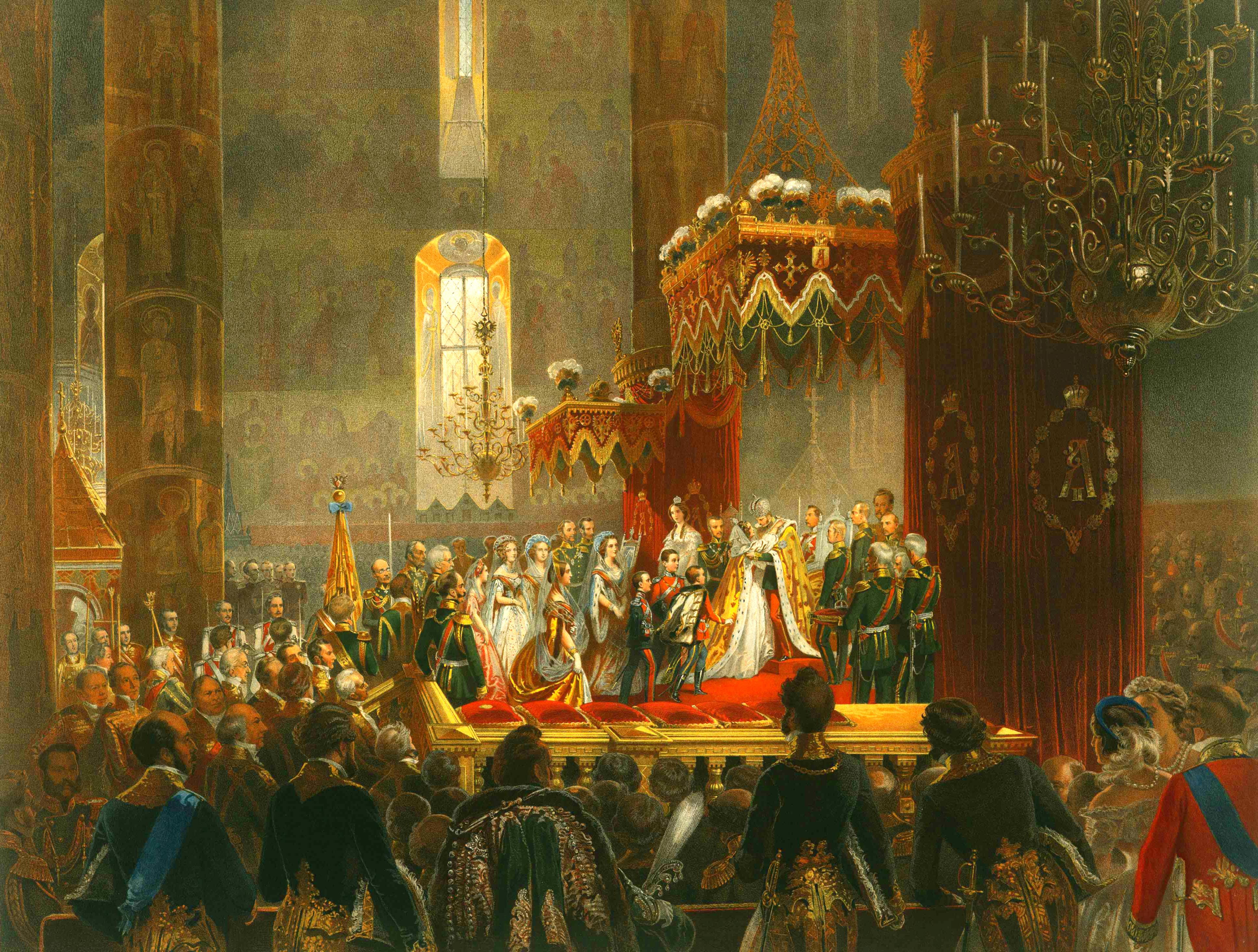 Зичи М. А. Поздравление, принесенное Его Величеству членами Императорской Фамилии по совершении коронования