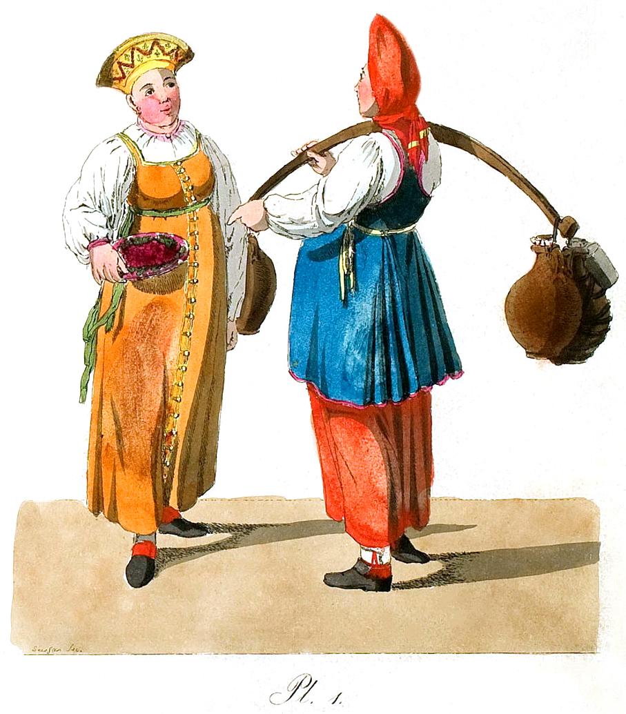 1. Frau mit Trageholz und daran befestigten Kr