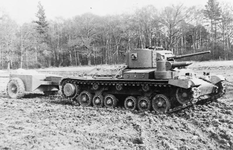 Valentine flamethrower tank with cordite operated equipment.