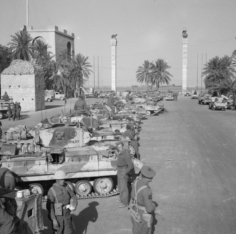 Valentine tanks lined up in the main square of Tripoli, 26 January 1943.