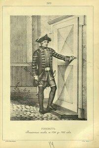 309. ГОБОИСТ Пехотного полка, с 1756 до 1762 года.