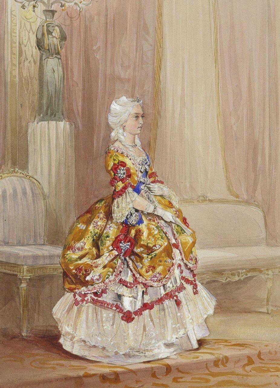 Королева Виктория в костюме для 1745 Необычный Бал, 6 июня 1845