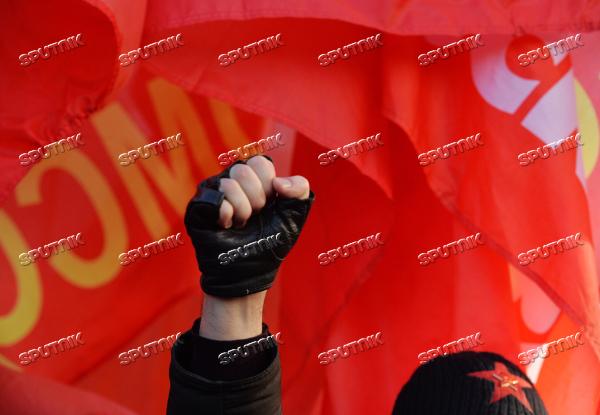 Шествие и митинг, посвященные 98–й годовщине Великой Октябрьской социалистической революции~RIAN_2733540