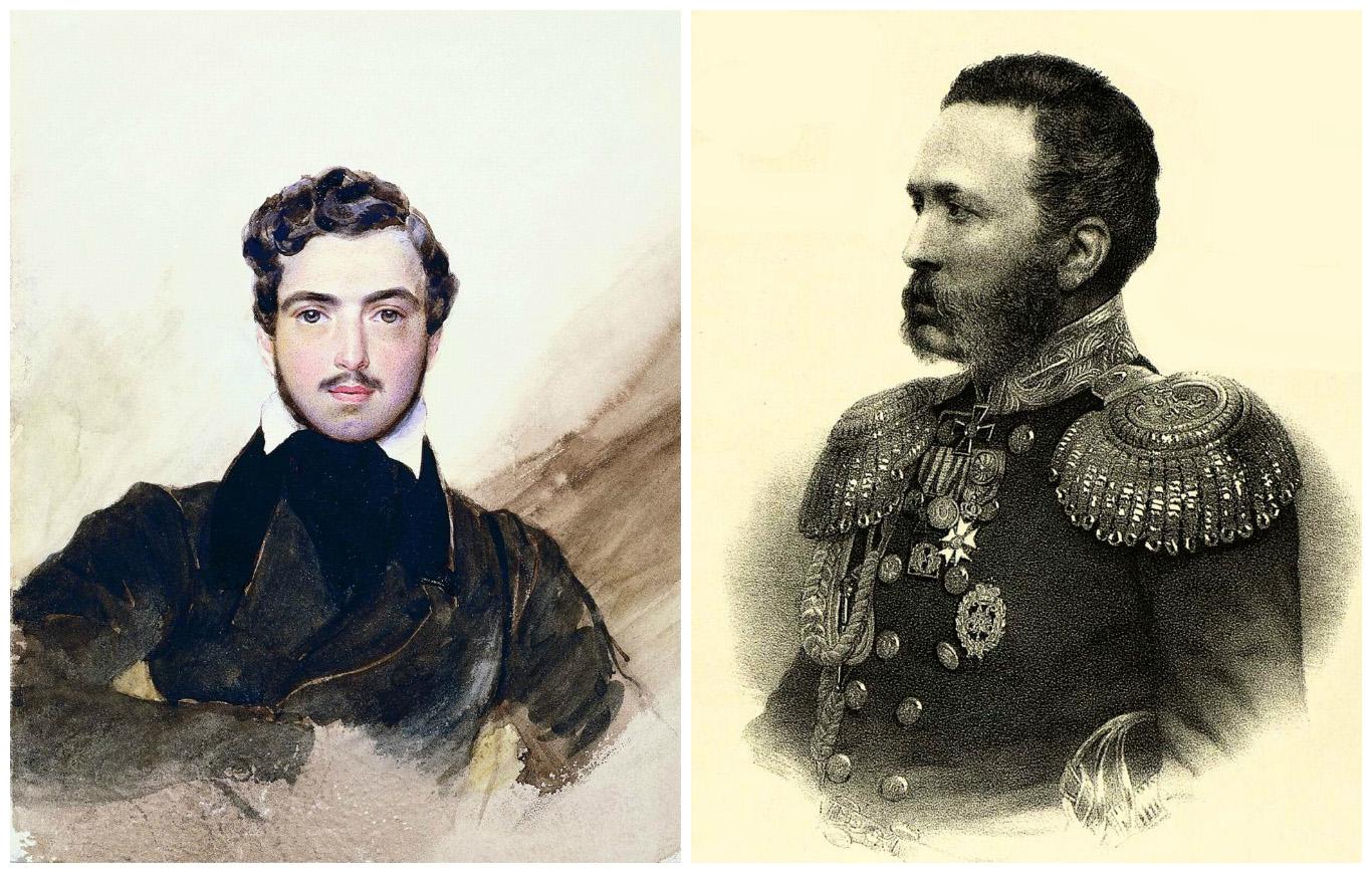 Гагарин Г.Г. Автопортрет 1840-е Государственный Исторический музей, и литография Мюнстера А. (СПб, Munster A.) с фотографии Деньера