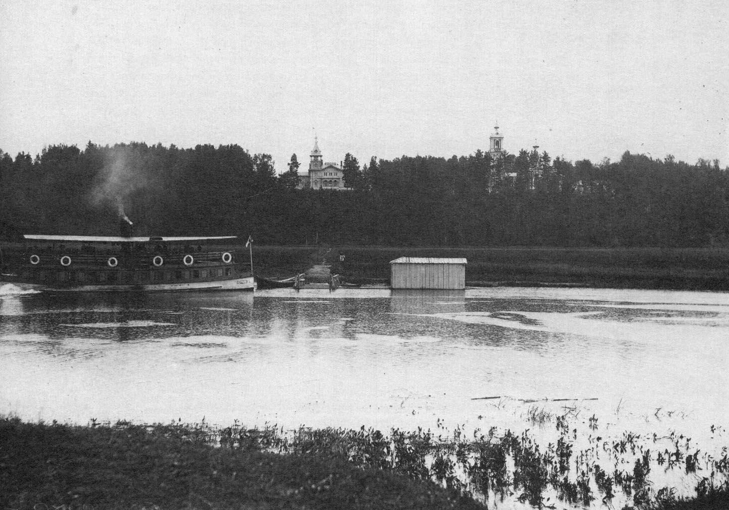 Вид Серафимо-Антониевского скита со стороны реки Луги