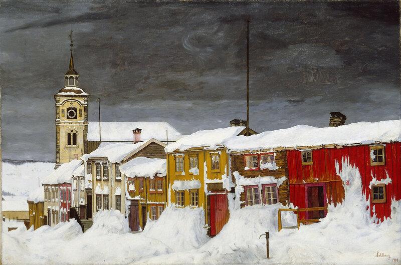 Harald Sohlberg - Street in Roros in Winter