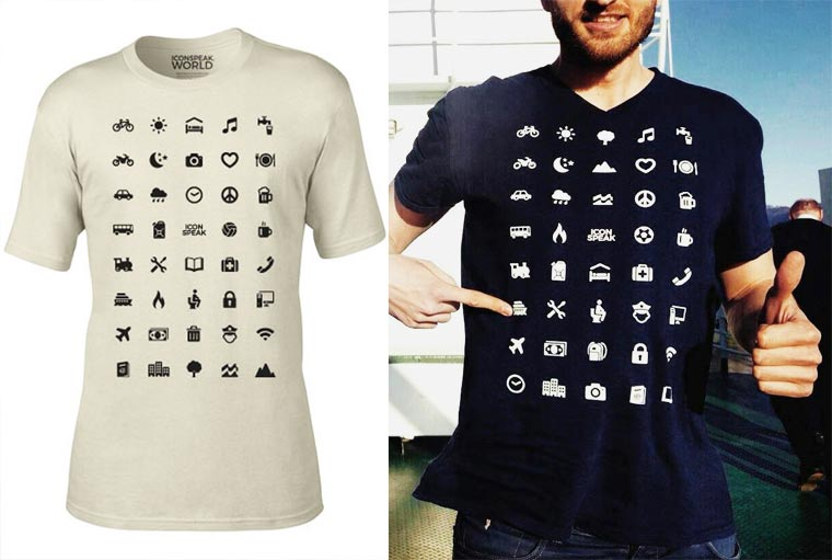 Icon Speak – A T-shirt with 40 universal icons to communicate while you travel (11 pics)
