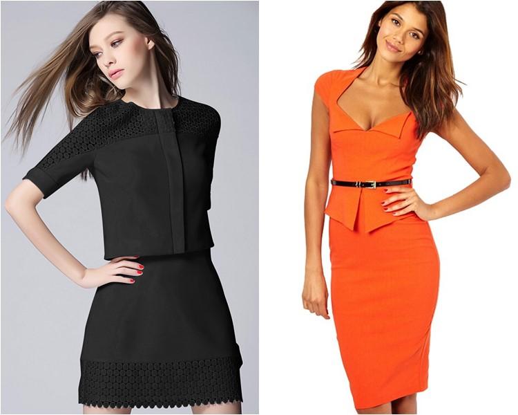 офисные платья из двух частей 2016