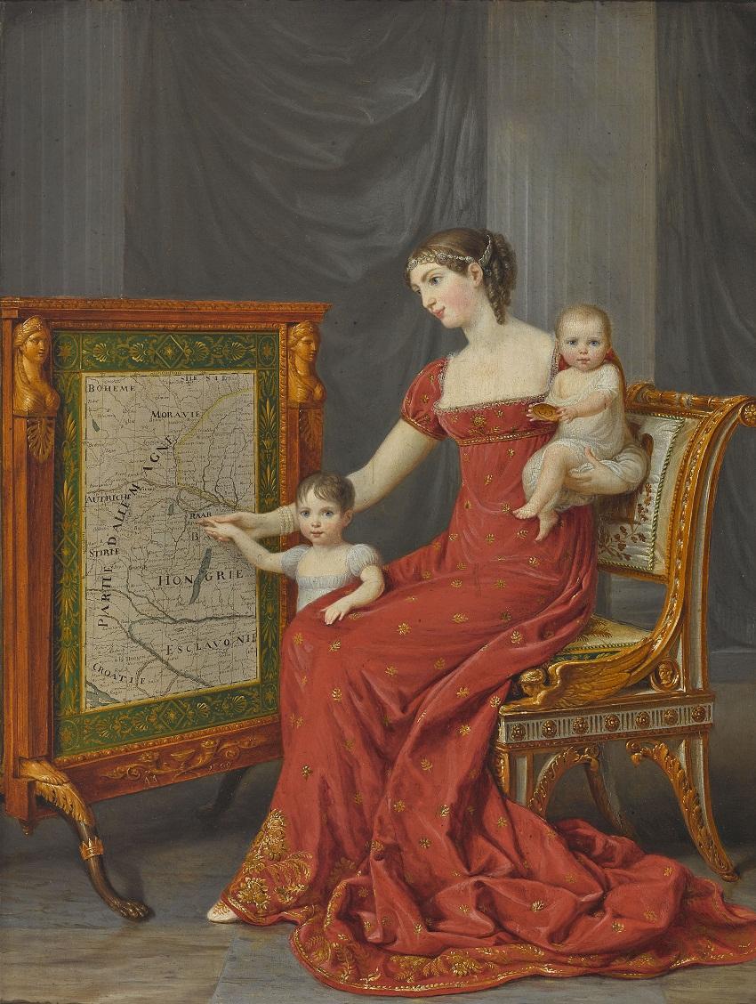 Auguste Amalie de Beauharnais, Vizekönigin von Italien, mit ihren Töchtern Josephine und Eugenie.jpg