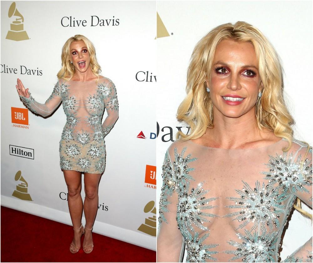 Бритни Спирс в просвечивающемся платье