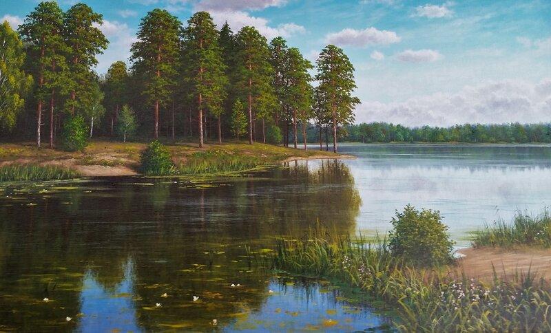 Пейзаж с озером ...