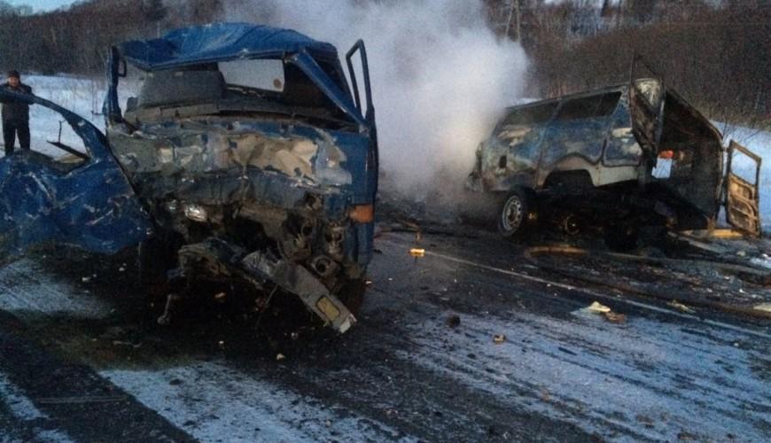 НаСахалине машина скорой помощи загорелась, врезавшись в фургон : погибли 5  человек