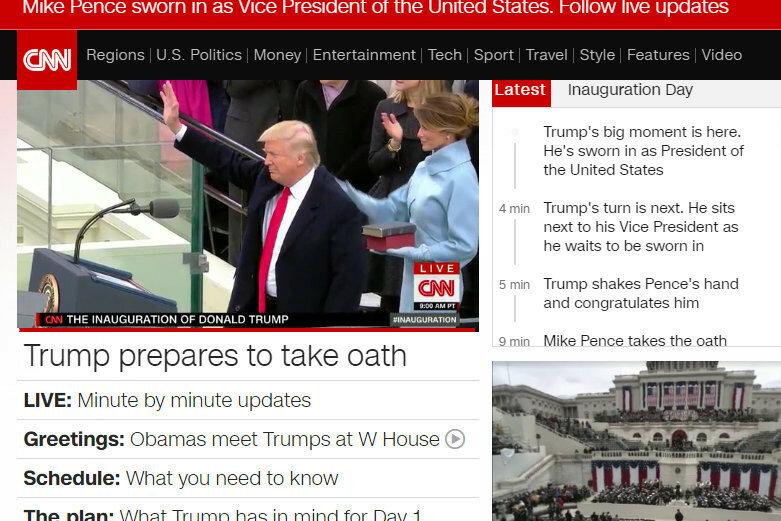 Скрин - инаугурация Трампа CNN