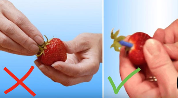 Попробуйте с помощью пластиковой трубочки или зубочистки проткнуть клубнику и удалить таким образом