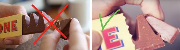 Справа указано, как легче и быстрее отломить кусочек вкусной шоколадки Toblerone.