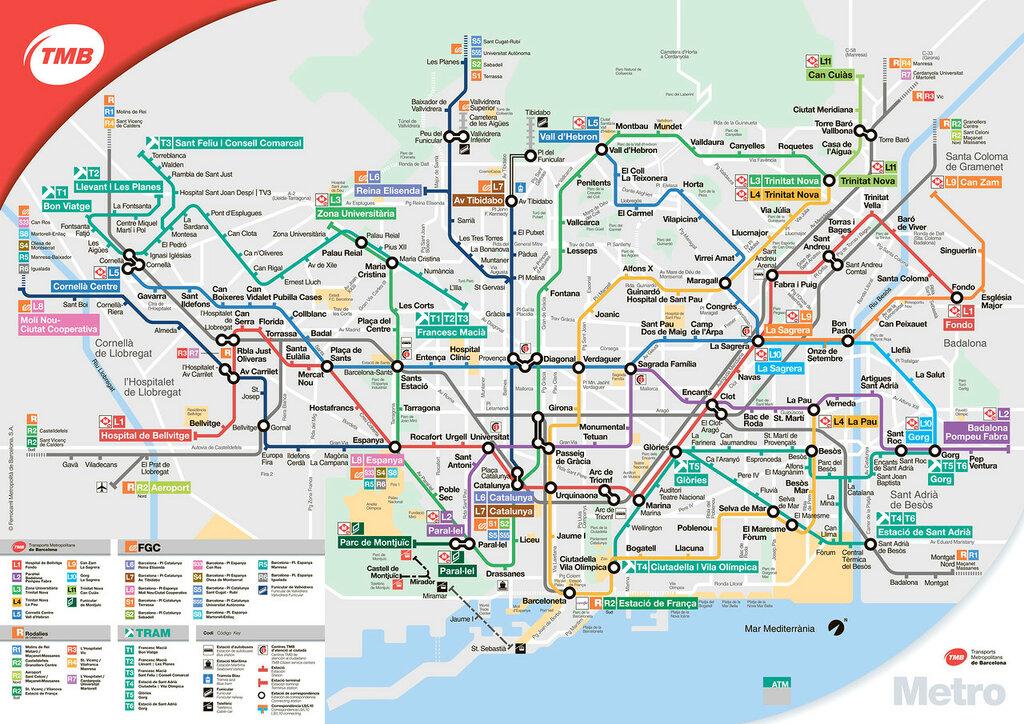 схема метро Барселоны.
